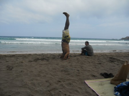 Beach yoga - headstand pose