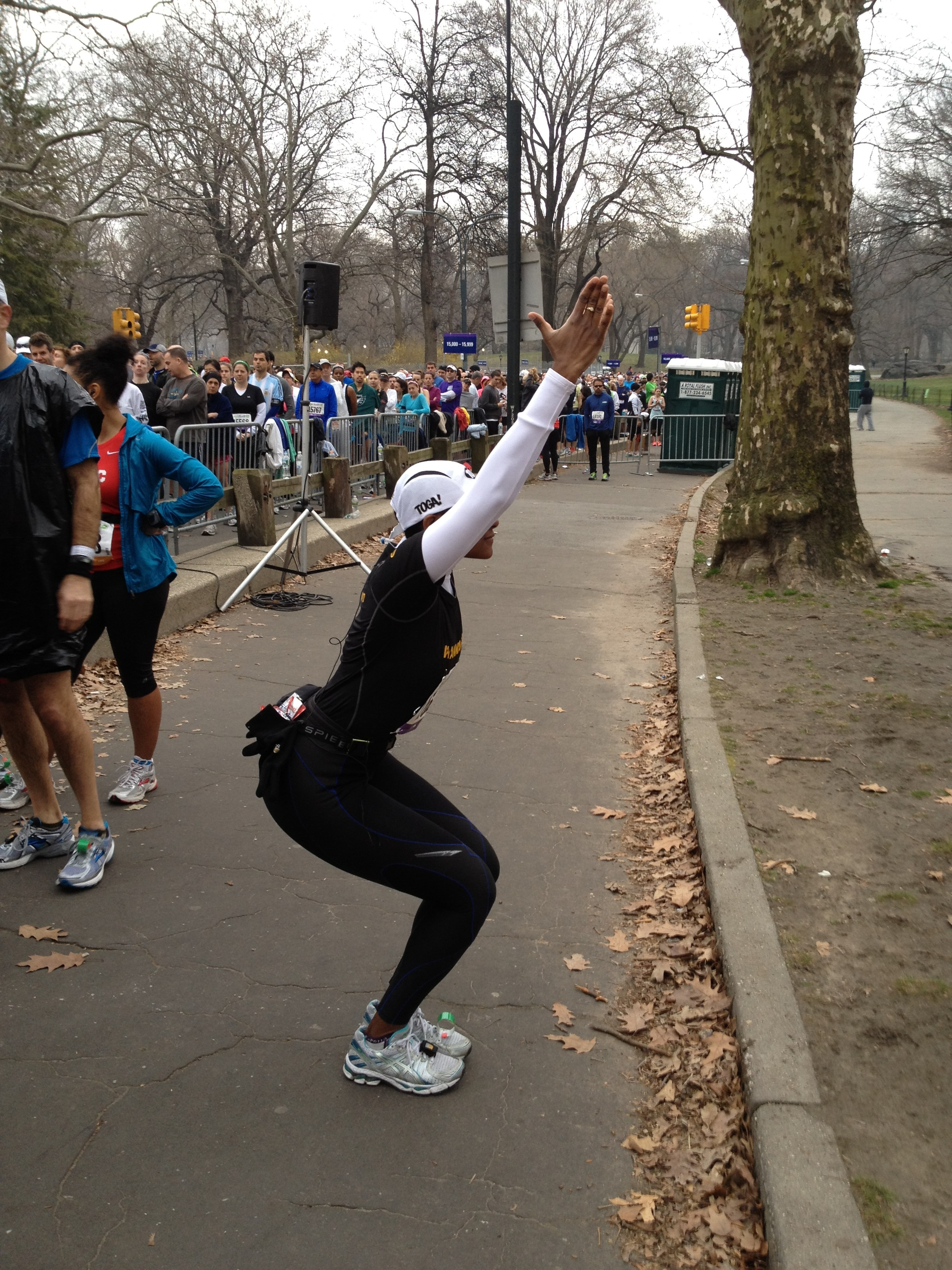 Getting into Utkat Asana, to fire up the legs before a Grueling Half Marathon in New York City. Photo : Sheril