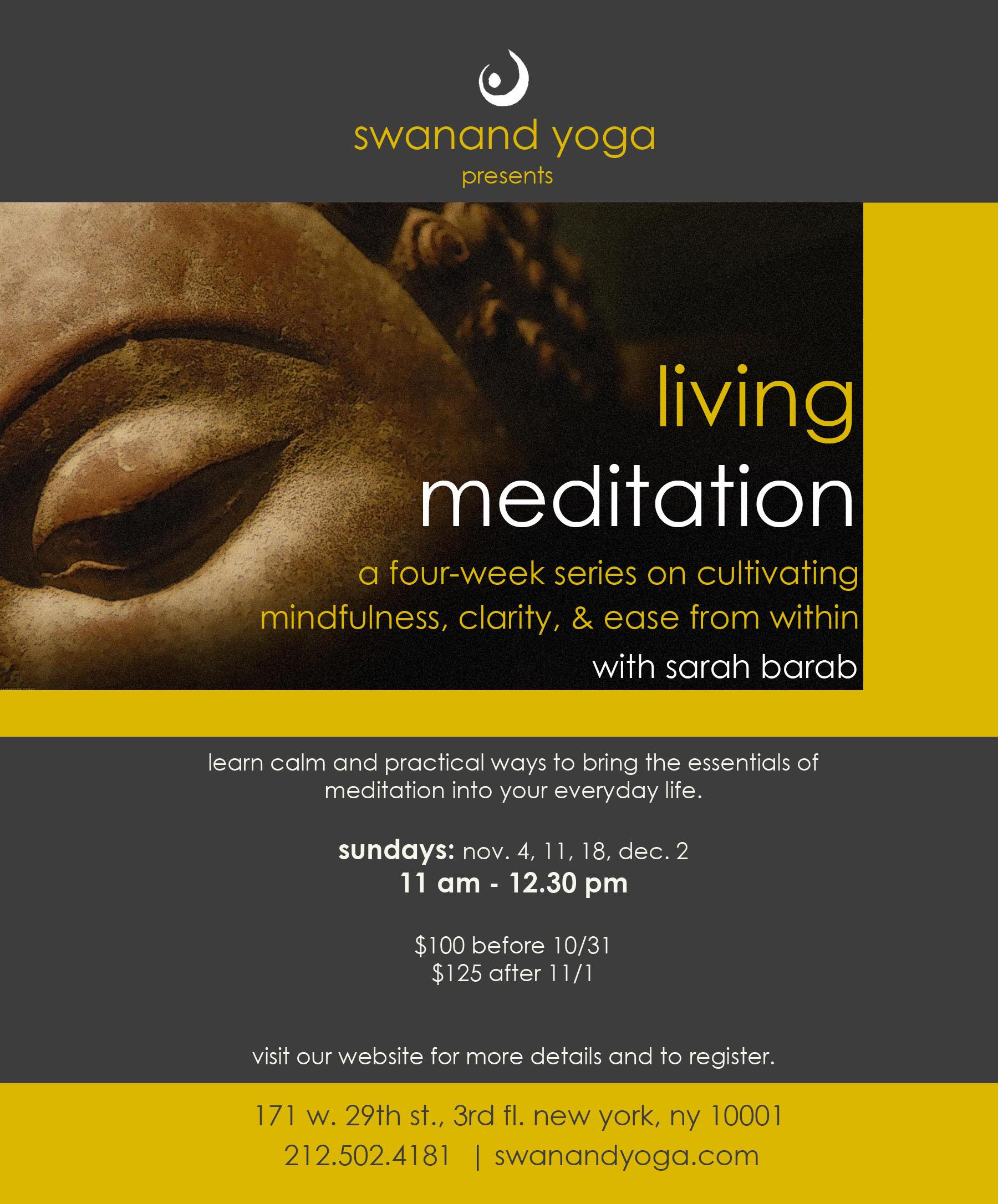 Living Meditation A Four Week Mediation Workshop At Swanand Yoga